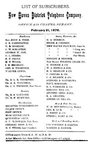 firsttelephonedirectory 1878 ATT